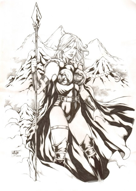 Valkyrie, pencils and inks by comics artist Leo Matos