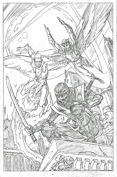 Iceman, Birdman, and Ronin, pencils by Val Semeiks