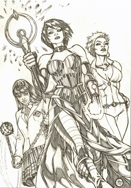 Gogo Yubari, Nico Minoru, and Vixen, pencils by Adriana Melo