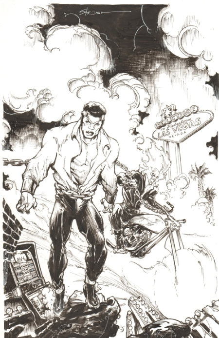 Luke Cage, Power Man and Ghost Rider, pencils and inks by Larry Stroman