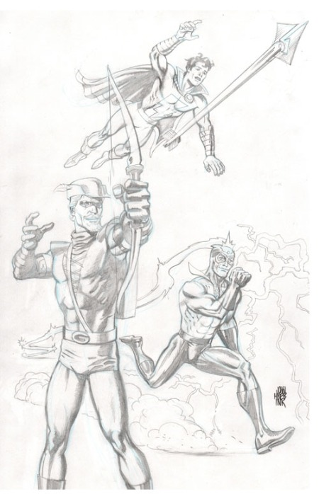 Green Arrow, Captain Marvel Jr. and Max Mercury, pencils by John Heebink
