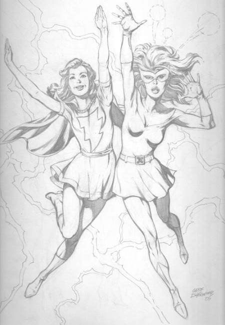 Mary Marvel and Marvel Girl, pencils by Geof Isherwood