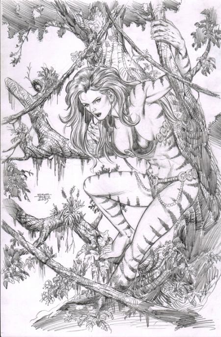 Tigra, pencil art by Edgar Tadeo