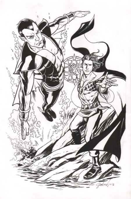 Namor the Sub-Mariner and Arion, Lord of Atlantis, pencils and inks by Stephen Sadowski