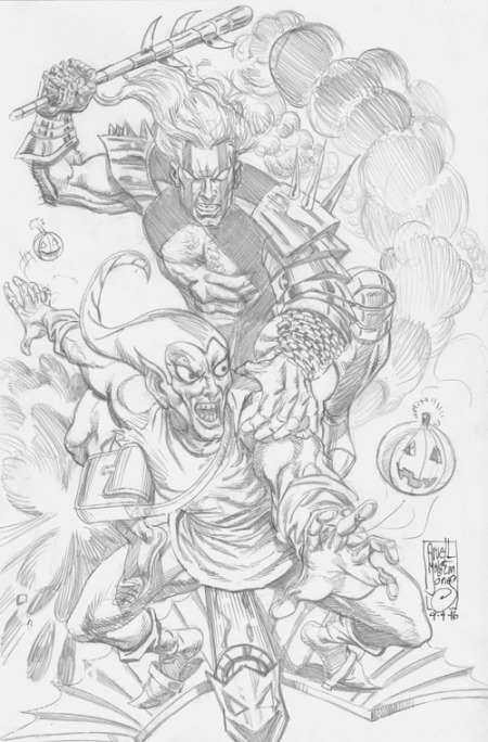 Kobalt and the Green Goblin, pencils by Arvell Malcolm Jones
