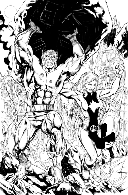 Orion and Andromeda, pencils by Kevin Sharpe, inks by Bob Almond