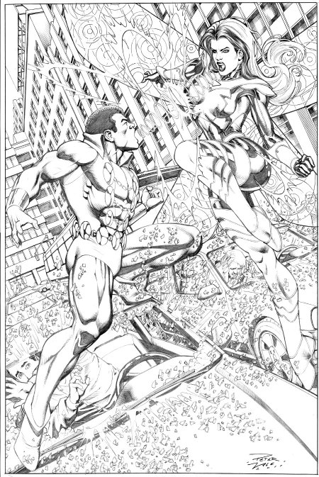 Tyroc and Songbird, pencil art by Peter Vale
