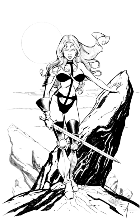 Taarna, pencils by Michael Dooney, inks by Bob Almond