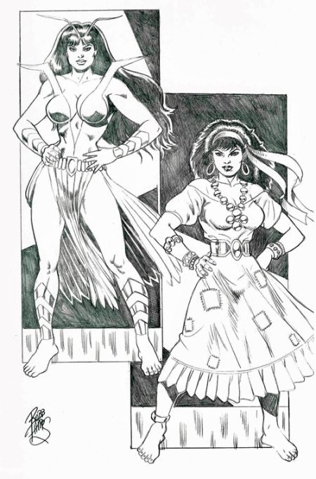 Mantis and Gypsy, pencils by Robb Phipps