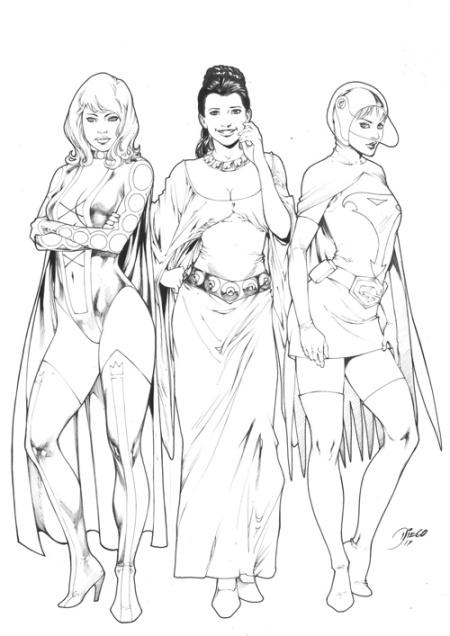 Princess Projectra, Princess Leia, and Princess (Jun the Swan), pencils and inks by Diego Bernard