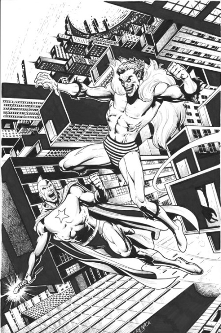 Starman and The Creeper, pencils and inks by Tom Derenick