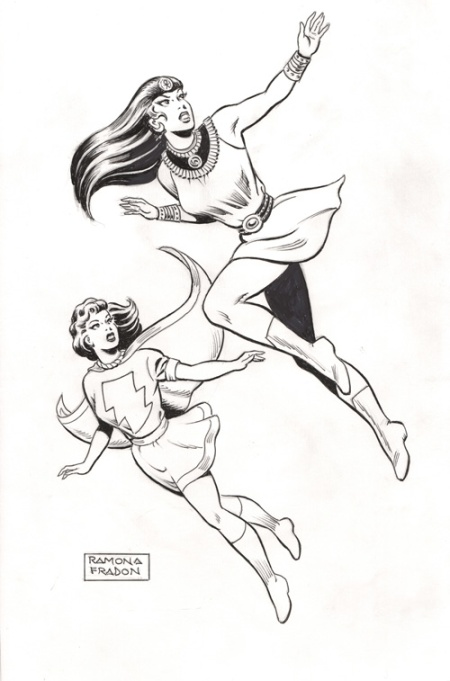 Mary Marvel and Isis, pencils and inks by Ramona Fradon