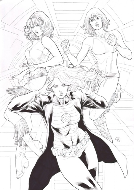 Beautiful Dreamer, Jean Grey, and Ultragirl, pencils and inks by Carlos Rafael