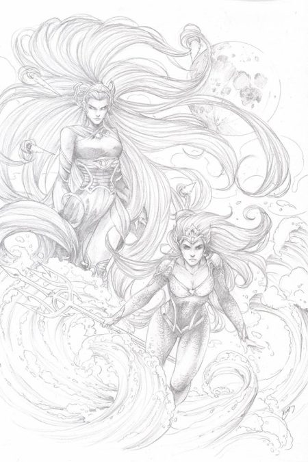 Medusa and Mera, pencils by Cross (Lori Hanson)