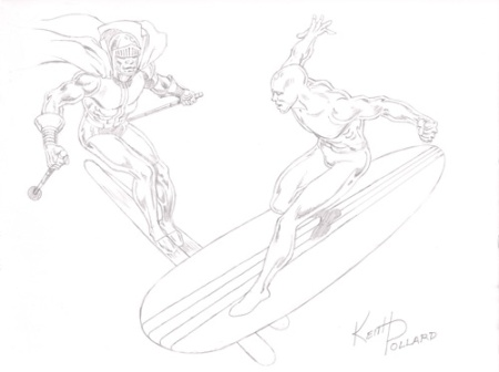 Black Racer and Silver Surfer, pencils by Keith Pollard