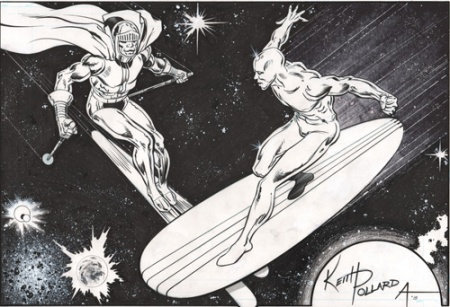 Black Racer and Silver Surfer, pencils by Keith Pollard, inks by Bob Almond