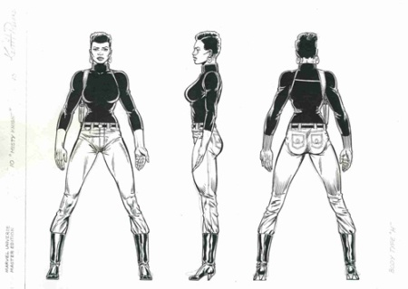 Misty Knight model sheet, pencils by Keith Pollard, inks by Joe Rubinstein
